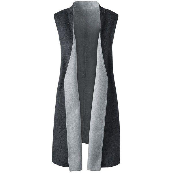 Lands' End Women's Plus Size Long Vest ($100) ❤ liked on Polyvore featuring plus size women's fashion, plus size clothing, plus size outerwear, plus size vests, grey, lands' end, grey waistcoat, reversible vest, vest waistcoat and long vest