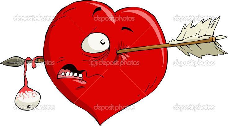 Bir ok, vektör çizim karikatür kalp
