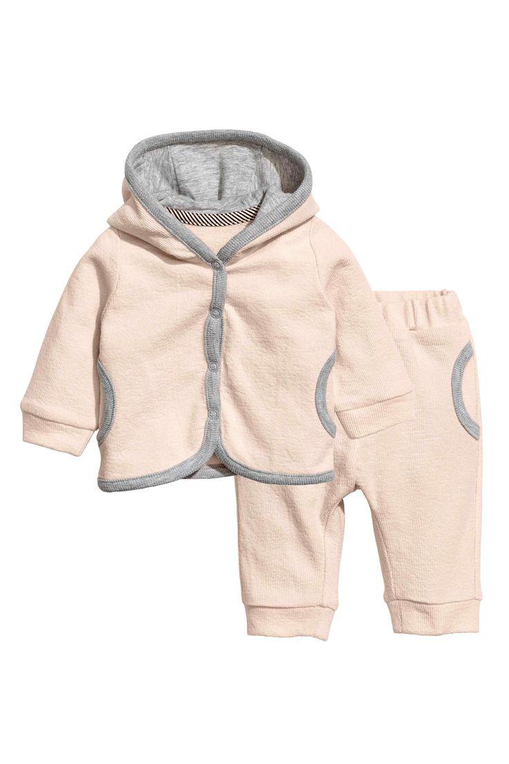 Jachetă cu glugă și pantaloni - Roz-pudrat - COPII | H&M RO 1