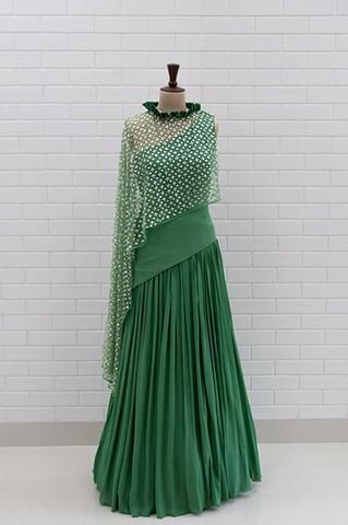 e2c28fd73d AIDA : Full sleeves cold shoulder anarkali with floral sequins & beads  embroidery and dupatta in 2019 | lahengha | Lehenga, Choli dress, Box pleats