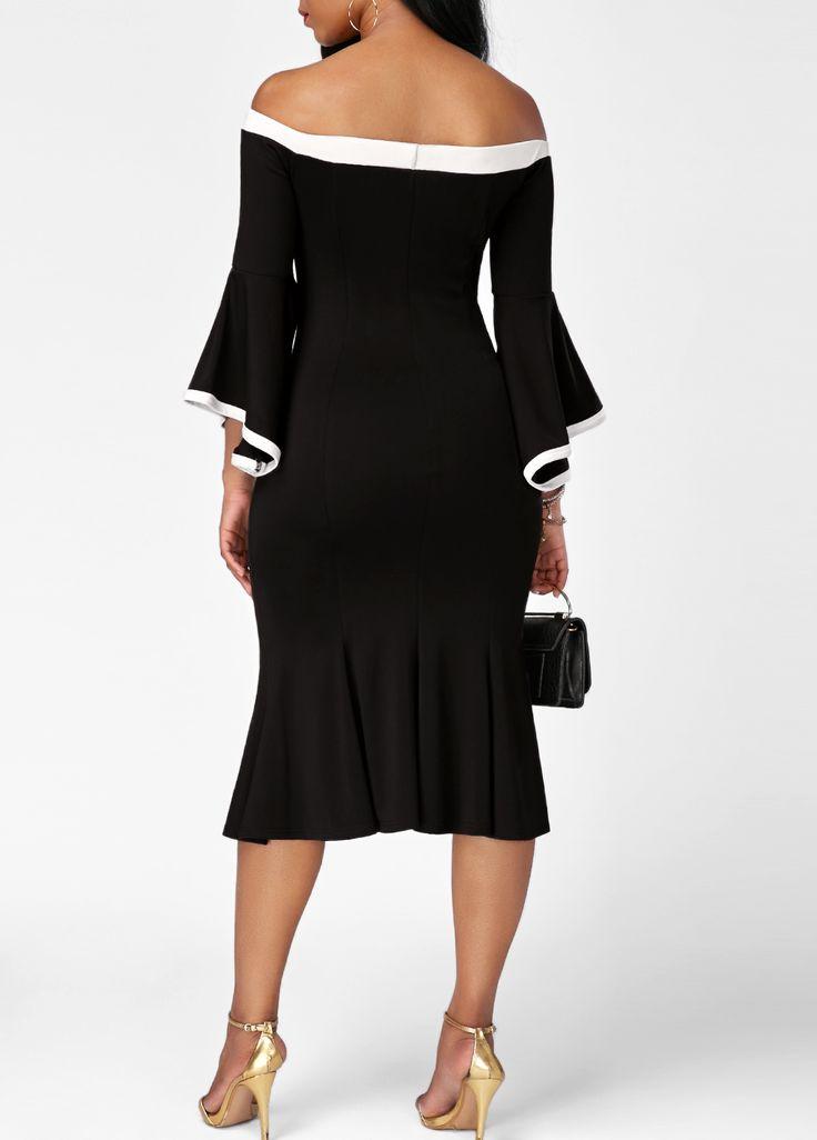 Frill Hem Flare Sleeve Patchwork Black Bardot Dress on sale only US$33.48 now, buy cheap Frill Hem Flare Sleeve Patchwork Black Bardot Dress at liligal.com