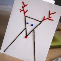 tarjetas de navidad originales hechas a mano figuras con puntadas sobre cartulina