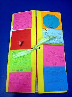 Adorable sticky note card - Hand students a sticky. After writing a message, add the stickies to a file folder and now you have an automatic greeting card with individual messages from all students.