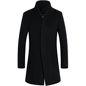 David.Ann Men's Wool French Coat Slim Fit Long Jacket Single Breasted Overcoat