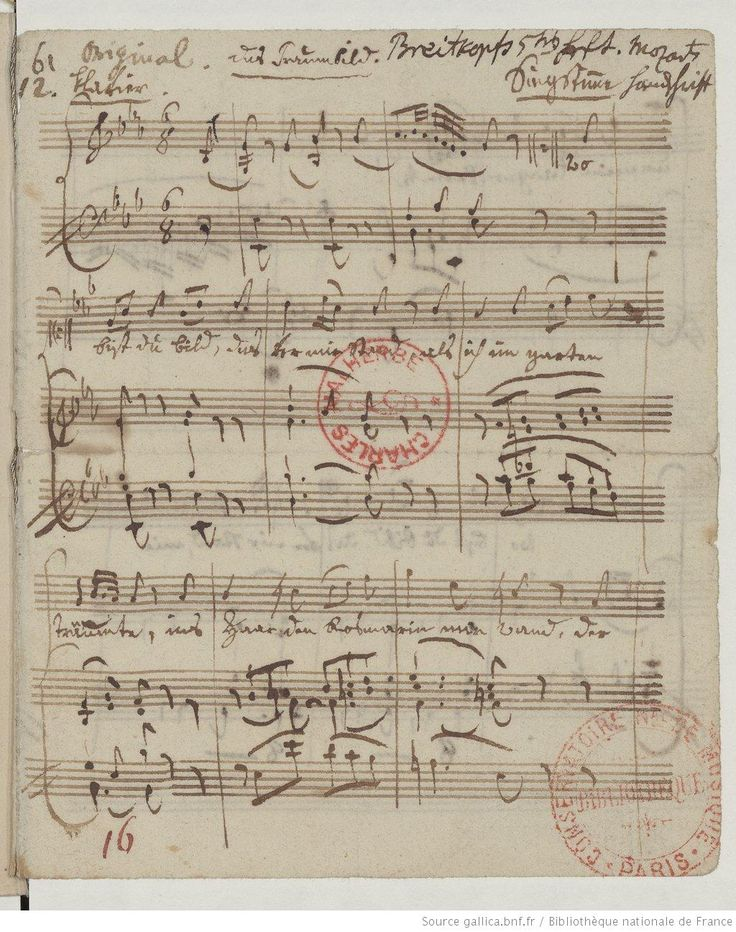 Das Traumbild (manuscrit autographe) Mozart