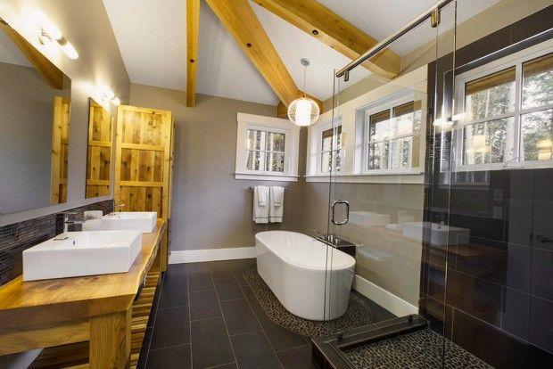 Деревянные элементы в интерьере ванной комнаты
