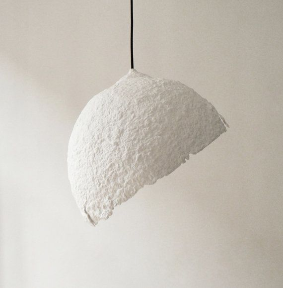 "Paper mache pendant lamp ""Globe blanco"", paper pulp hanging lamp, paper lamp shade, modern, eco-friendly, paper lamp,"