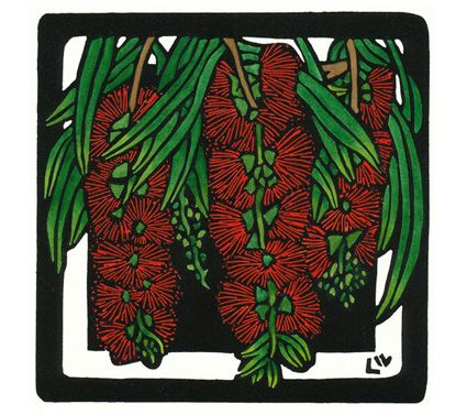 Bottlebrush Square - Limited Edition Handpainted Linocuts by Lynette Weir