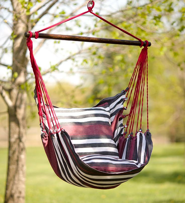 black and red striped cotton hammock chair swing