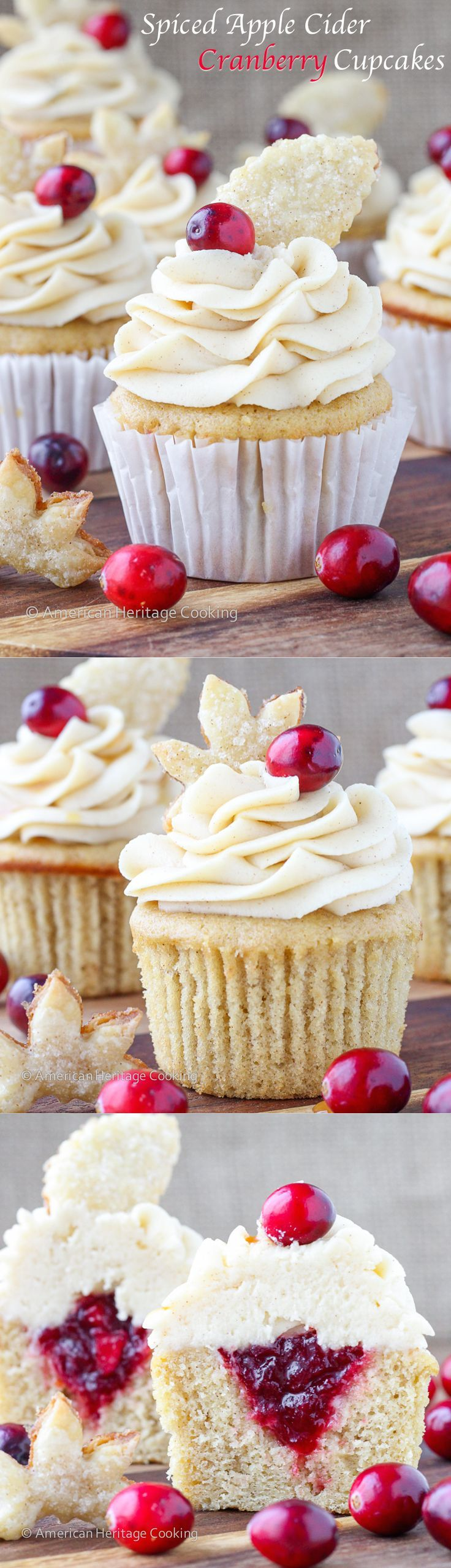 Spiced Apple Cider Cranberry Cupcakes   Soft, moist apple cider cinnamon cake filled with spiced cranberry compote and topped with a cinnamon cream cheese butter cream! And don't forget the sugared pie crust leaf!