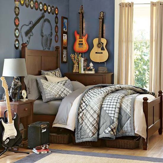 teen room with guitar and records decor