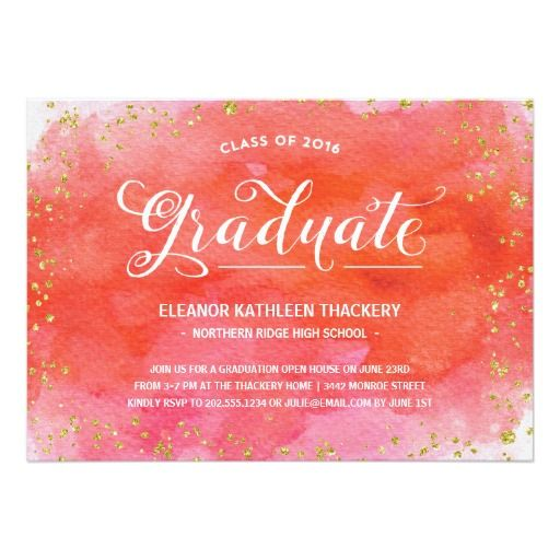 Glam Watercolors | Faux Glitter Graduation Party Card