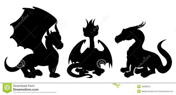 dragon-cartoon-silhouettes-collection-illustrations-fantasy-fairytale-dragons-isolated-white-background-42089616.jpg (1300×702)