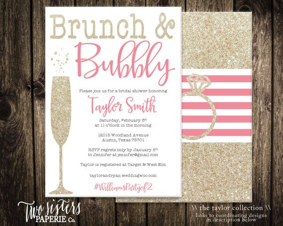 Brunch and Bubbly Bridal Shower Invitation - Printable File