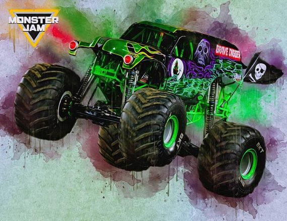 Grave Digger Monster Jam Print Poster Watercolor Personalized