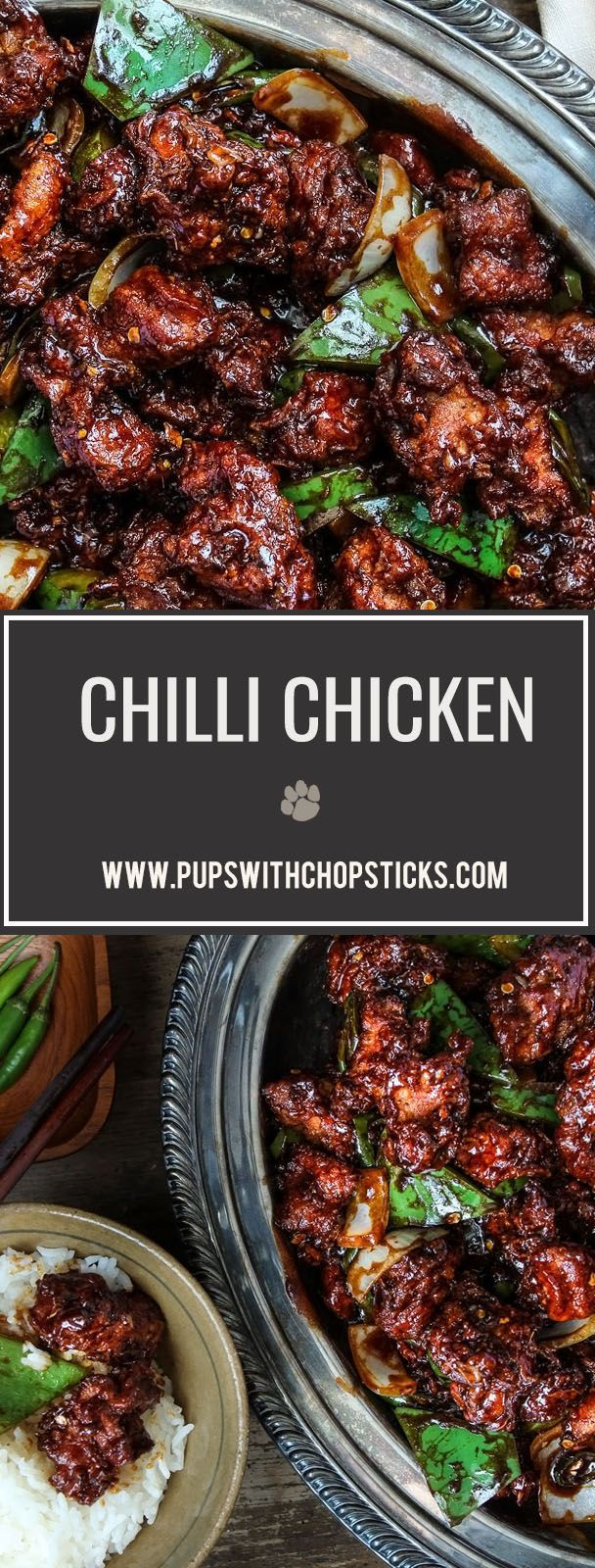 A popular and delicious Hakka, Indian Chinese takeout dish, Chilli chicken is made with crispy chicken chunks tossed in a spicy chilli sauce.