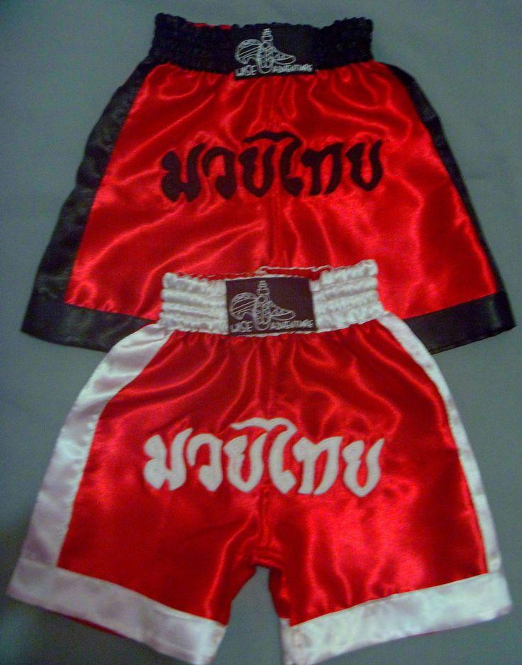 Short em cetim tamanhos 2, 4, 6, 8, 10, 12, 14, 16 para prática de Muay Thai, cores sob encomenda <br> <br>tenho em estoque 1 peça tamanho 2 vermelho com branco