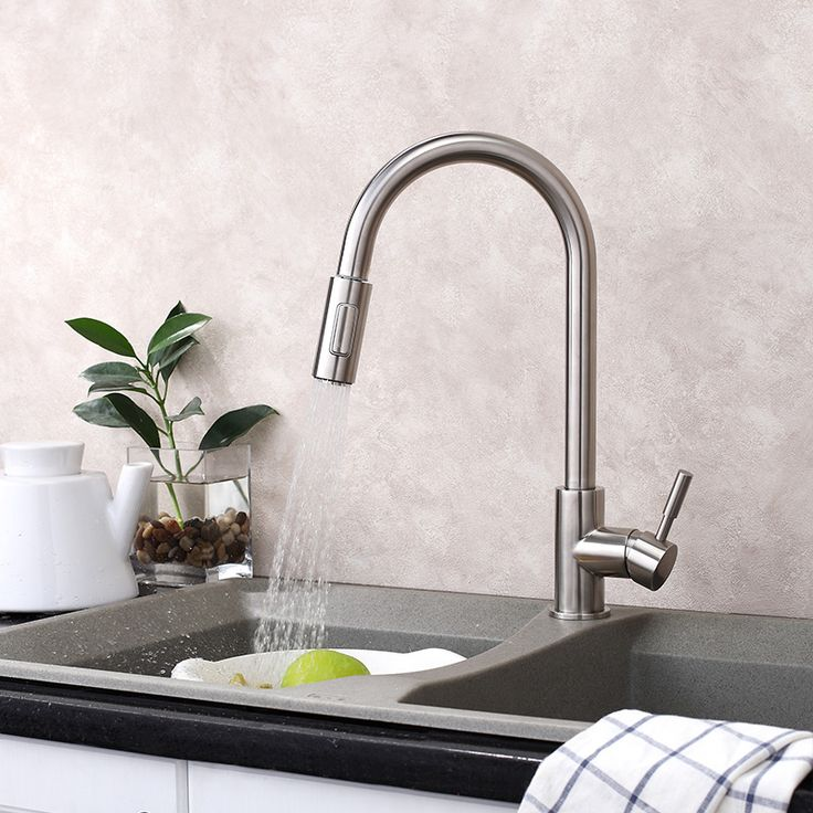Free ship Brushed Nickel  Pull Down Spray  Kitchen Faucet Mixer Tap single hole deck mounted