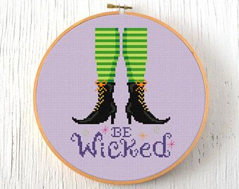 PDF Pattern - Be Wicked Cross Stitch Pattern, Halloween Cross Stitch Pattern, Witch Cross Stitch Pattern, Autumn Cross Stitch