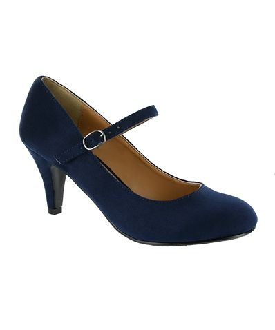 Low Heeled Pump with Strap 1 - Navy Blue