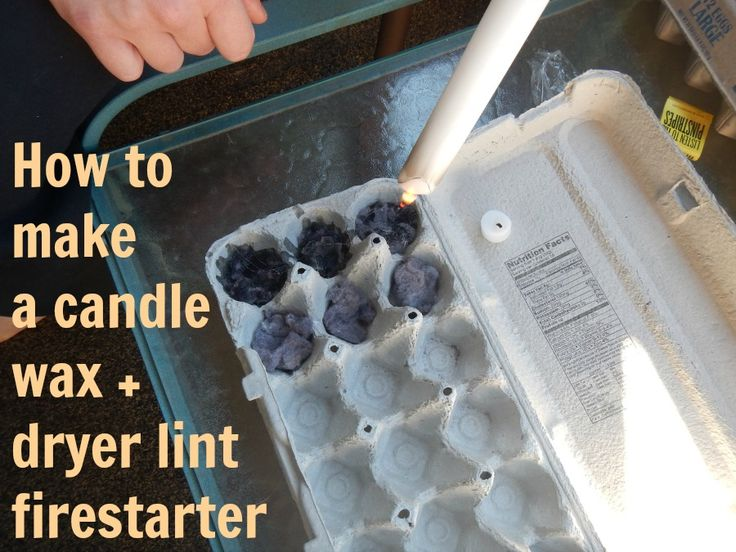 candle wax dryer lint and egg carton fire starter for camping crafts pinterest fire. Black Bedroom Furniture Sets. Home Design Ideas