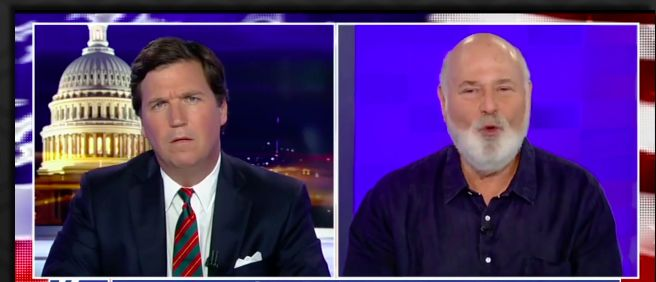 """Fox News host Tucker Carlson had Hollywood director Rob Reiner spinning Thursday night when he came on his show to talk about Hollywood's latest video declaring that America is at """"war"""" with Russia."""