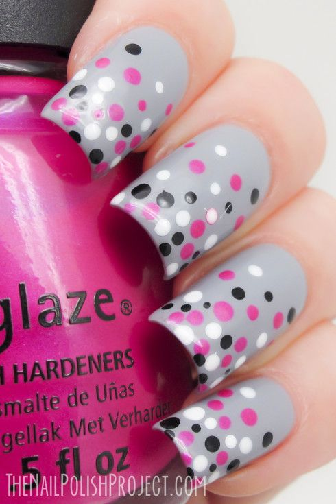 Base color is ORLY Mirror Mirror, the dots are done in Ulta3 Lily White and Black Satin, the pink is China Glaze Beach Cruise-r