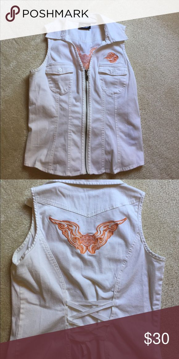 Harley Davidson White Denim Vest Excellent condition, Harley Davidson vest.  Zip front, 2 front pockets, tie back. Harley-Davidson Jackets & Coats Vests