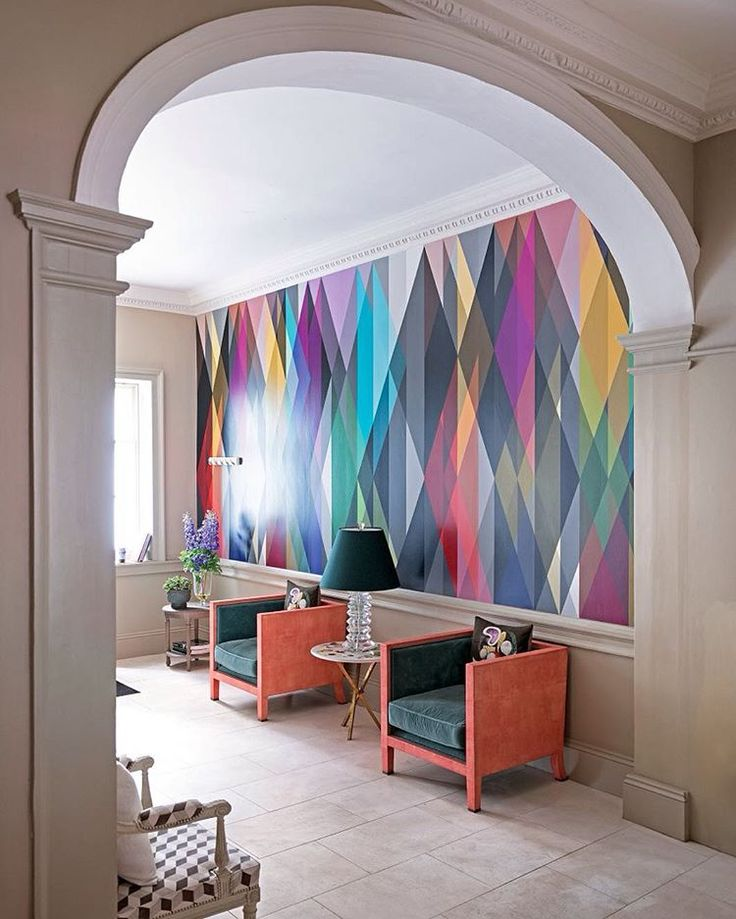 Neutral Modern Hallway With Multicoloured Graphic Wallpaper (Circus  Wallpaper By Cole U0026 Son)