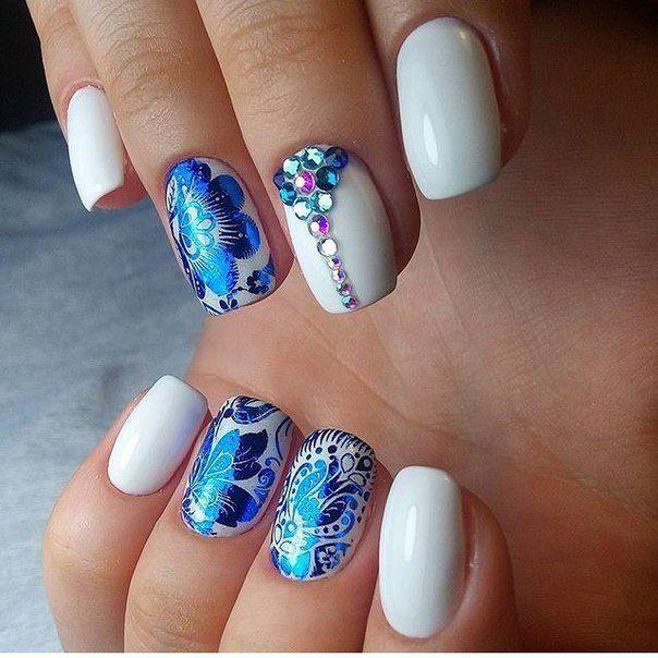 Evening dress nails, Evening nails, Nails ideas 2017, Nails with gems, Nails with stickers, Nails with stones, Original nails, Party nails