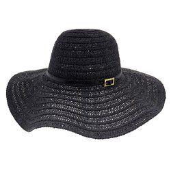 Conny Open Weave Floppy Black Hat