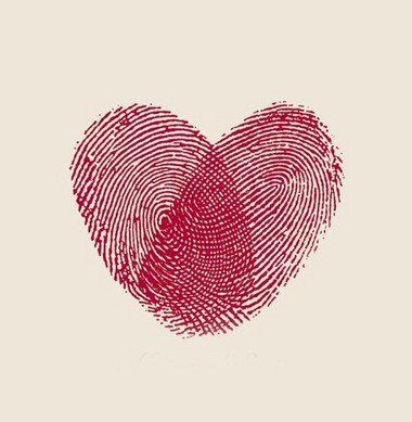 Two fingerprints in the shape of a heart.....I think I like this concept