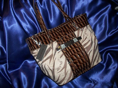 GUESS BONNIE BROWN TIGER STRIPE TOTE HANDBAGTotes Handbags, Handbags 6999, Ebay Essential, Bonnie Brown, Guess Bonnie, Brown Tigers, Southwest Style, Stripes Totes, Tigers Stripes