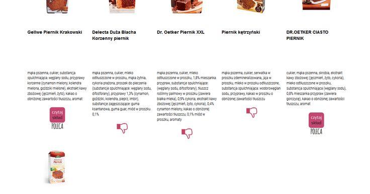 Czytamy skład i porównujemy etykiety produktów Piernik - mieszanki do wypieku. Zobacz skład i polecane produkty przez Czytaj Skład