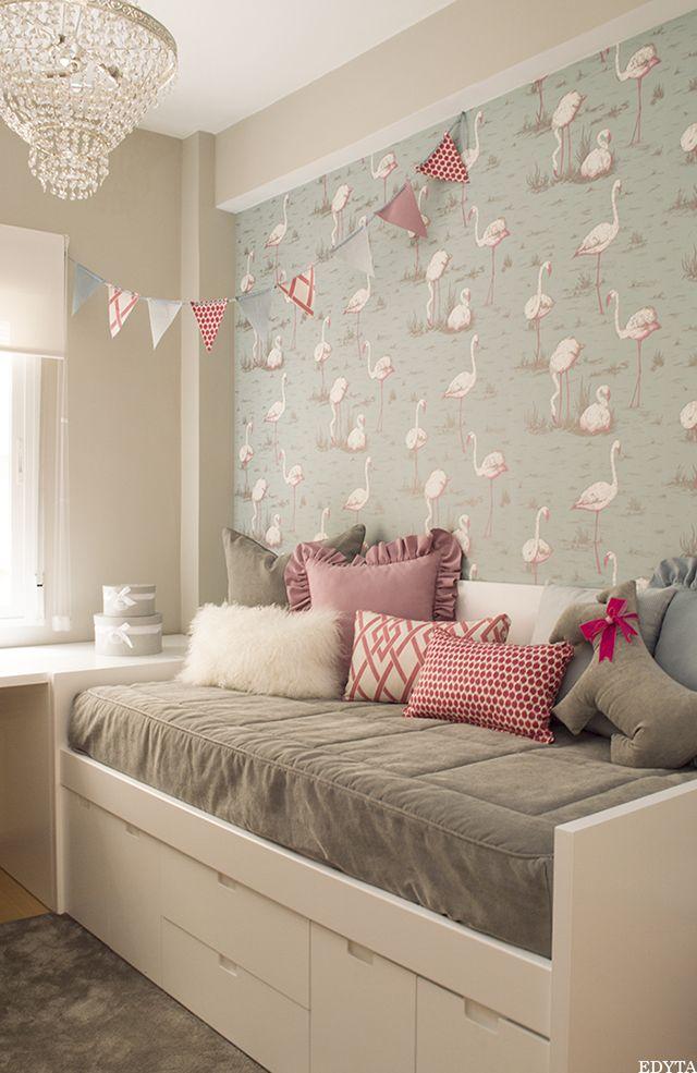 papel pintado flamencos dormitorio infantil