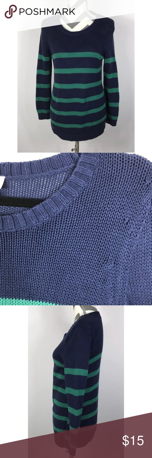 """{LOFT Outlet} Navy Blue Green Striped Sweater Very Good Pre-loved Condition! Ann Taylor LOFT Outlet Navy Blue Green Striped Cable Knit Sweater   Size: Women's Medium Measured laying down flat: 27.5"""" long, 16.5"""" across bust, 22"""" long sleeves Material: 100% Cotton Description: Thick chunky material, stretchy, boat neck, long sleeves, striped pattern  Comes from a Smoke Free Home ID 44 LOFT Sweaters"""