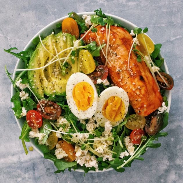 People hate on salads, but the reason I find them so appealing is because  you can put so much in them without it tasting weird. I love to experiment  with different proteins, healthy fats, nuts, and seeds, and the more that  goes into my salad, the merrier. This one is extra loaded with pro
