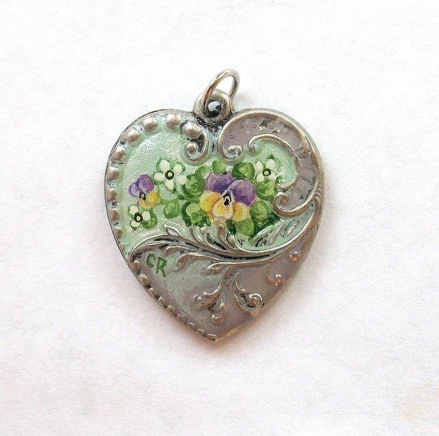 Pansy Hand Painted Victorian Flourish Heart Charm by hiddenwhimsy