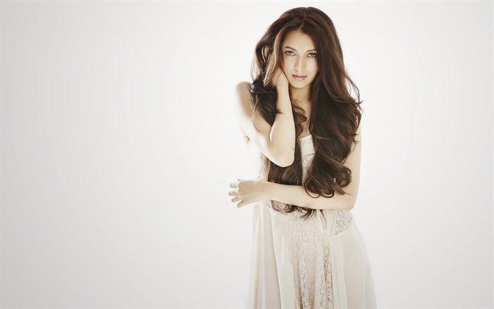 Télécharger fonds d'écran Shivani Joshi, bollywood, l'actrice Indienne, belle fille, robe blanche, make-up