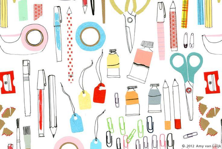 Amy van Luijk - Pattern design with art materials. Very cute! <3