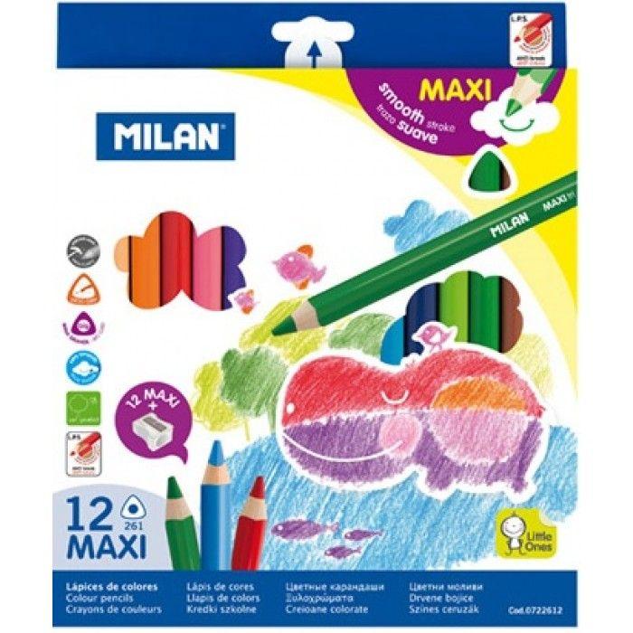 Creioane colorate, groase, 12 buc/set, Milan - Creioane colorate - Articole pentru scoala - Rechizite