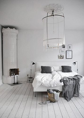 black, white, and grey bedroom