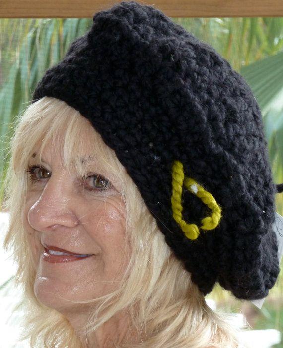 Black Hat Crochet Old World Style Winter Slouchy by hatsbyanne1942, $36.00