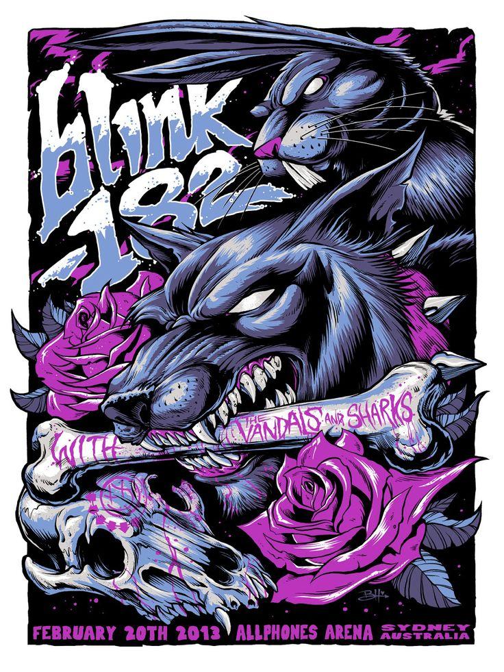 Blink 182 Poster | Tonight's blink-182 poster from Sydney Australia by Brandon Heart
