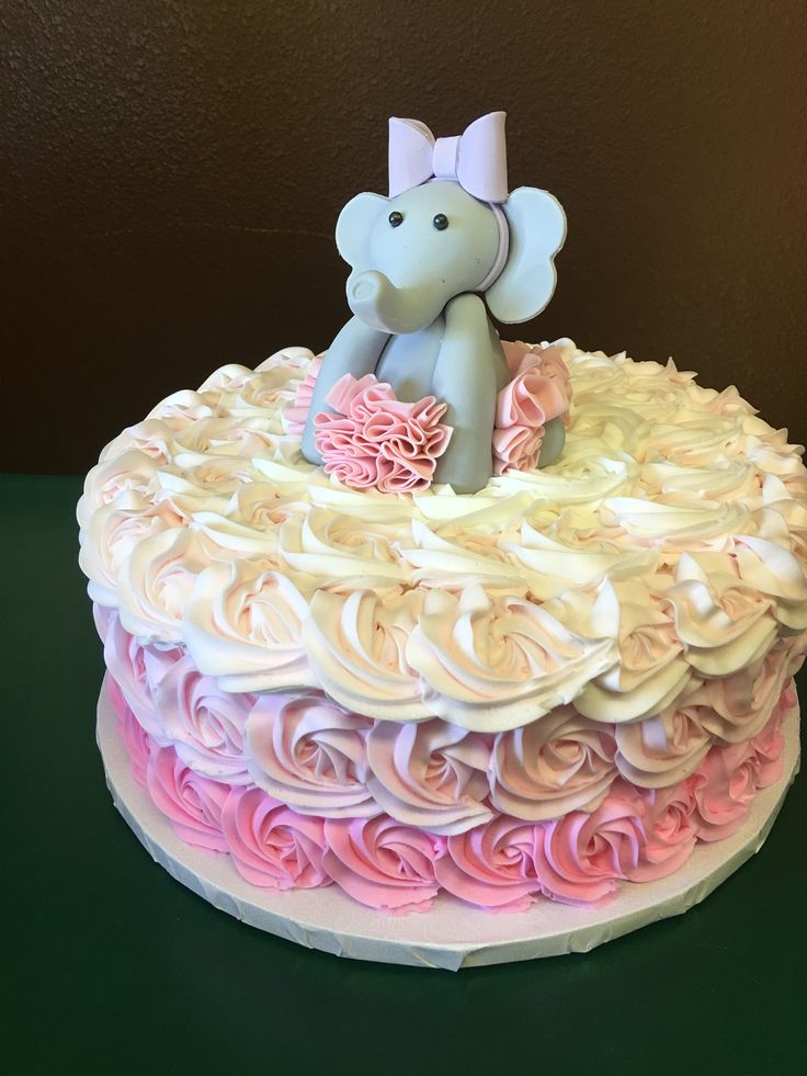 Pink tutu elephant birthday cake!
