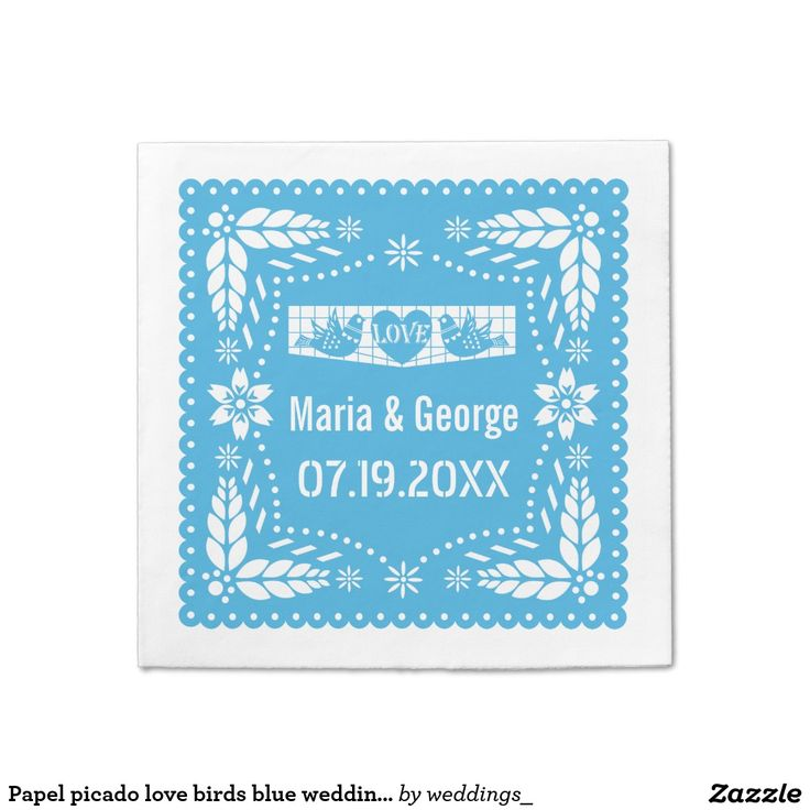 Papel picado love birds blue wedding fiesta standard cocktail napkin