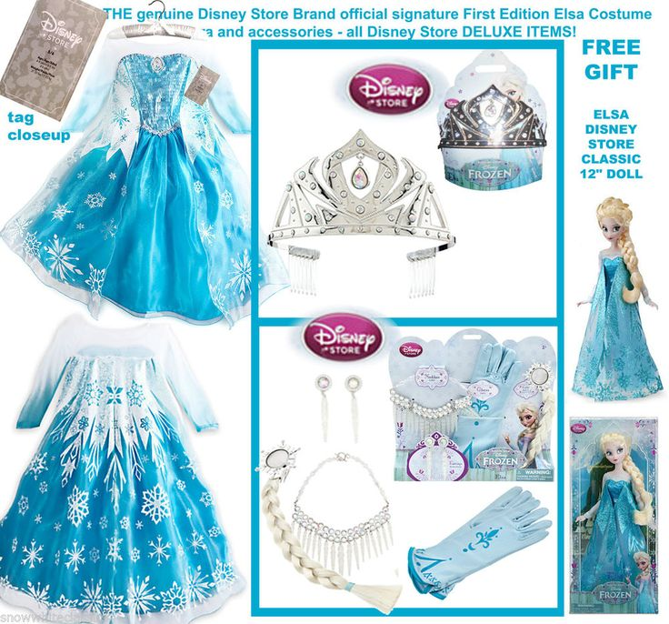 AUTHENTIC DISNEY STORE COSTUME 5/6 ELSA DELUXE FROZEN PRINCESS DRESS DOLL Ltd #Disneystore #DressTiaraAccessoriesNecklace