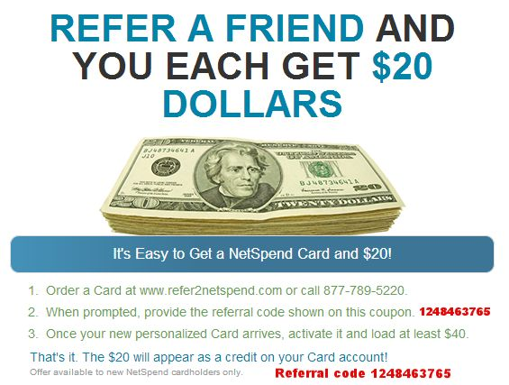 NetSpend Refer A Friend program gives you a $20 bonus when you sign up and add at least $40 or more. Refer friends and get $20 for each person who adds $40 or more.  #NetSpend #NetSpendReferAFriend #NetSpendBonus #NetSpendReferAFriendProgram #ReferAFriend