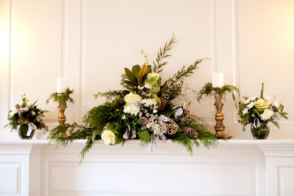 Evergreen and white theme.Wedding Inspiration, White Flowers, Decor Ideas, Winter Wedding Flower, Mantels Flower For Wedding, Flower Ideas, Christmas Decor, Candles Ideas, Pinecone Branches Mantels