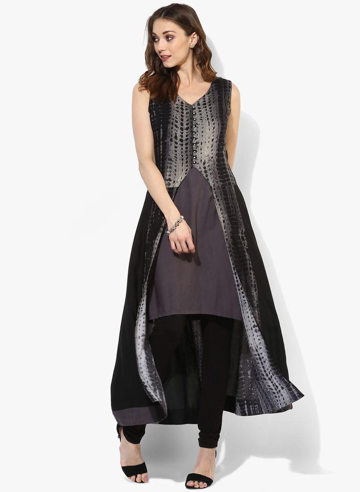 Black #Printed Rayon #Kurta With Lining